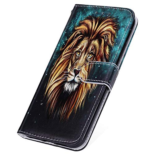 SainCat für Xiaomi Redmi Note 6 Pro Hülle Bookstyle Leder Flip Handyhülle mit Standfunktion und Kartenfach Magnetverschluss Stoßfest Komplett Schutzhülle für Xiaomi Redmi Note 6 Pro-Löwe