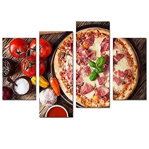 4pièces à pizza Nourriture Grande décoration murale Peinture à l'huile pour les murs Home Art moderne peintures à l'huile étiré encadrée prêt à accrocher 81,3x 119,4cm (encadré)