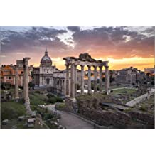 Cuadro sobre lienzo 90 x 60 cm: Dramatic sunrise at the Roman Forum in Rome, Italy de Jan Christopher Becke - cuadro terminado, cuadro sobre bastidor, lámina terminada sobre lienzo auténtico, impre...