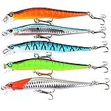 Ocamo 5 Pcs Minnow Fishing Lure Tackle 12cm/12g Artificial Baits Imitation Fish Shape Lure with Fishhook