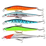 #9: Ocamo 5 Pcs Minnow Fishing Lure Tackle 12cm/12g Artificial Baits Imitation Fish Shape Lure with Fishhook