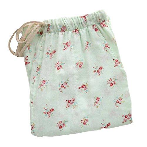 [Green Floral] Frauen Baumwoll Loungewear Loose Pyjamas Hosen Pyjama Bottoms (Floral Pyjama Baumwolle)