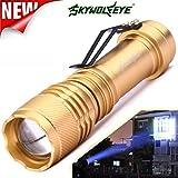 Taschenlampen,6000LM 3 Modi CREE Q5 AA / 14500ZOOMABLE LED Taschenlampe Super Bright für Camping und Wandern by OHQ (Golden)