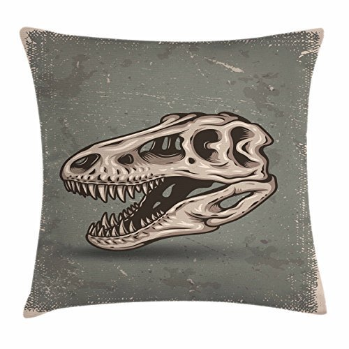 Dinosaur Throw Pillow Cushion Cover, Vintage Style Dinosaur Skull Poster on Grungy Looking Background with Prints, Decorative Square Accent Pillow Case, 18 X 18 Inches, Sage Green Tan - Sage Green Coffee