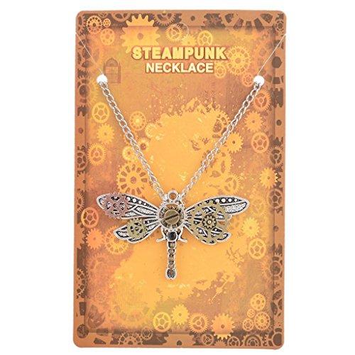 ELECTROPRIME® 2Pcs Steampunk Dragonfly Beetle Insect Shaped Multigear Gears Women Necklace