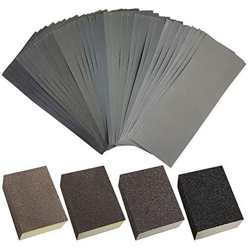 4 esponjas de lijado y 36 hojas de lija, bloques de lija reutilizables FineGood lavables 400-3000 para acabado de muebles de madera y pulido de automóviles