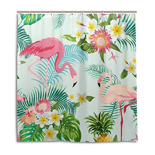 Jstel Duschvorhang mit tropischem Motiv, Blumen, Flamingo, Palme, 100% Polyester, 168 cmx 180 cm, mit Kunststoffringen, dekorativer Badewannenvorhang