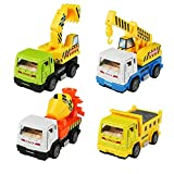 Car Toys Die-Cast Model Vehicles Construction Team Pull Back Dump Truck Mini Diggers Toy for Kids 4 PCS - Fajiabao - amazon.co.uk