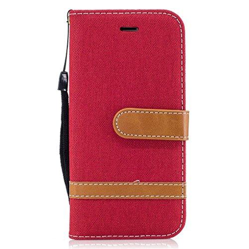 Apple iPhone 7 Hülle, SATURCASE Prämie Jeans Stil PU Lederhülle Ledertasche Magnetverschluss Flip Cover Brieftasche Case Handy Tasche Schutzhülle Handyhülle mit Standfunktion Kartenfächer und Handschl Rot