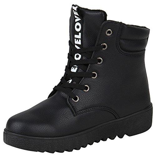 Stiefelparadies Damen Sneaker High Warm Gefütterte Sneakers Winter Schuhe Profilsohle Winterschuhe Schnürer Wildleder-Optik Turnschuhe Flandell Schwarz Prints