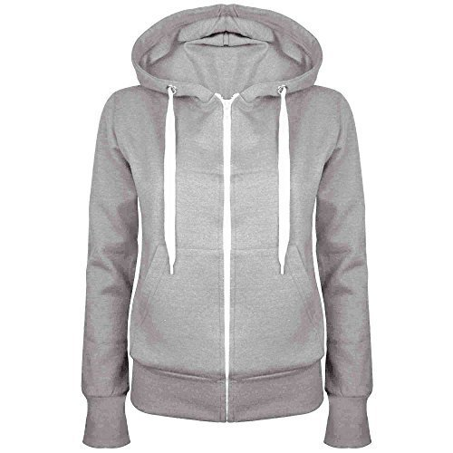 Damen-reiner Kapuzenpulli Mädchen Reißverschluss Top Womens Hoodies Sweatshirt Jacke Übergröße 6-22 - Aschgrau, EU 38