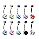 Ruikey 10pcs Stainless Steel Belly Button Ring Jewelry Piercing Imitation Diamonds Assorted Colors