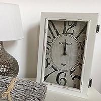 Kaminuhr LONDON Uhr Tischuhr Holz Shabby Stil mit Schublade Vintage Landhaus