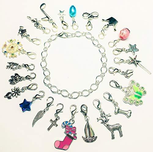 La Perla di SaWi ♥ 24 Teile Charm-Anhänger Füllung für Adventskalender Silber-schmuck für Mädchen & Frauen Advents-Kalender (24 Charms & Armband)