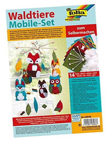 folia 22849 - Mobile Set Waldtiere zum Selbermachen, mit 14 Teilen, Anleitung und Schnittmusterbogen - Komplettset zur Erstellung eines Mobiles Set Mobile