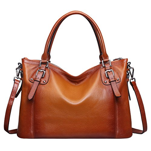 S-ZONE Vintage Tote Hobo e Satchel Crossbody Borse a tracolla delle signore delle 'genuino morbida pelle Classic Brown-Medium