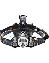 GRDE Lampe Frontale Inclinable 3 Torche LED Puissante Headlight Rechargeable Headlamp pour vtt Cycliste, Randonne,Caverne,Chasse de nuit(Accessoire d'allume cigare, secteur, prise EU, piles rechargeable)