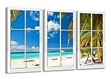 kostenfreier-Bilderversand-in-Deutschland 160 x 90 cm Bild auf Leinwand Fenster Karibik 1164-VKF deutsche Marke und Lager - fertig gerahmt, Exklusive Markenware von Visario