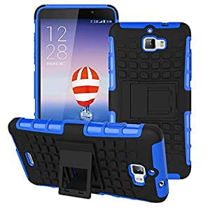 Heartly Flip Kick Stand Spider Hard Dual Rugged Armor Hybrid Bumper Back Case Cover For Micromax Canvas Nitro A310 A311 Dual Sim - Power Blue