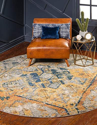 Moderner traditionellen Alta zeitgenössischen Bereich Teppich, beige, 8 x 8 round