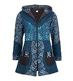 Kunst und Magie Damenmantel mit Kapuze Blumenmuster Jacke Baumwolle, Größe Damen:42, Farbe:Petrol