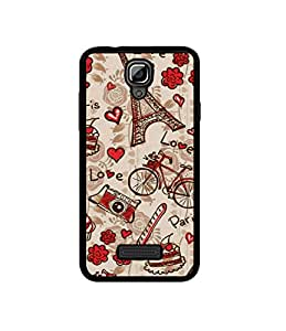 Casotec Vintage Paris Design Canvas Printed Soft TPU Back Case Cover for Reliance Lyf Flame 5