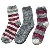 3 Paar Kuschelsocken 35-42 Bettsocken Damen Kuschel Socken Haussocken (Grau-Ringel-mix)