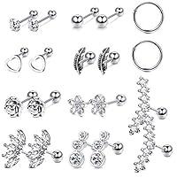 Subiceto 16G Stainless Steel Cartilage Tragus Helix Stud Earrings for Women CZ Hoop Barbell Top Ear Piercing Stud Body Piercing Jewelry