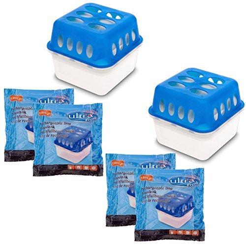 2X Ultra Fresh Luftentfeuchter Feuchtigkeits-Stopper mit Nachfüll-Beutel Granulat