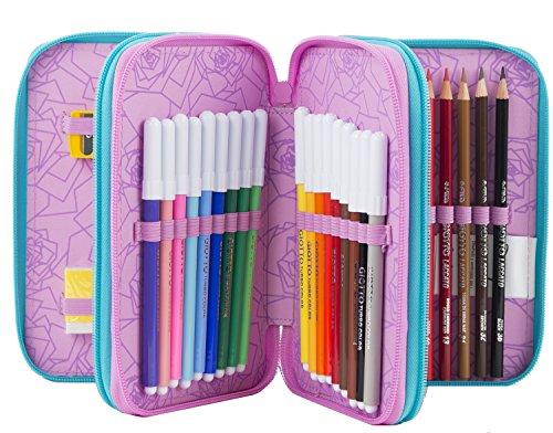 51RBILdWrLL - ESTUCHE escolar 3 pisos - DISNEY LA BELLA E LA BESTIA - Multi compartimentos con lápiz, rotuladores, boligrafos...Rosa