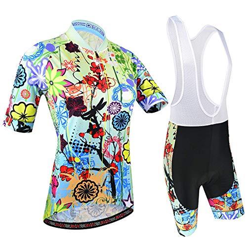 BXIO Maillot Ciclismo Mujer, Ciclismo Conjunto de Ropa con Culotte Pantalones Acolchado 3D para Deportes...