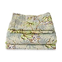 TJC Green, Blue and Multi Colour Floral Pattern Microfiber Reversible Quilt Size 260X240 Cm and 2 Pillow Shams Size 70X50 Cm