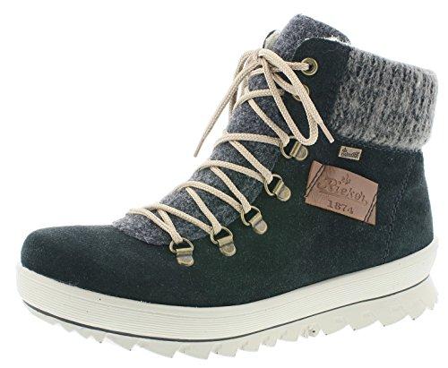 Rieker Damen Winterstiefel Y4330,Frauen Winter-Boots,warm,Tex-Membran,wasserfest,Blockabsatz 3.9cm,wasserdicht,schwarz/anthrazit/anthrazit/Mogano, EU 41