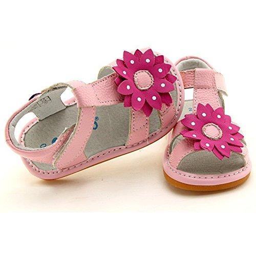 FREYCOO - Scarpine bimba primi passi con fischietto   Sandali rosa con grosso fiore rosa Rosa