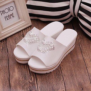 LvYuan Da donna Sandali Comoda PU (Poliuretano) Estate Comoda Zeppa Bianco 10 - 12 cm White