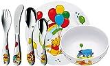 WMF Disney Winnie Pooh Kindergeschirr, mit Kinder-/Gravurbesteck, 6-teilig, ab 3 Jahren, Cromargan Edelstahl poliert, spülmaschinengeeignet, mit individueller Namensgravur auf Rückseite