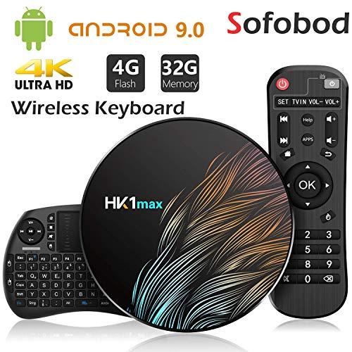 Sofobod HK1 MAX TV Box Android 9 0 TV Box 4GB RAM 32GB ROM 2 4G/5G Dual  WiFi H 265 Decoding HD 4K Set Top Box +i8 Mini Wireless Keyboard