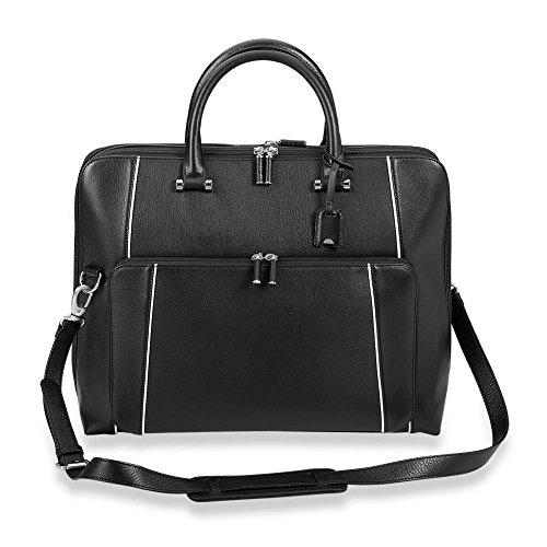 Levenger AL15030 NM Leather Laptop Blair Expandable Brief Bag, Classic Contrast