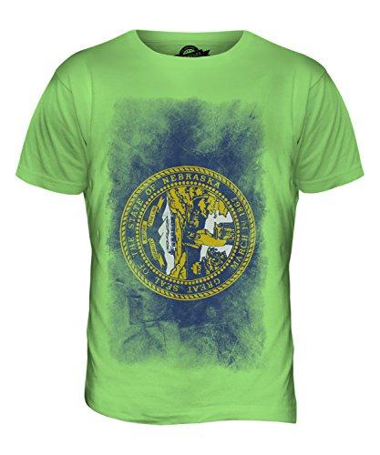 CandyMix Bundesstaat Nebraska Verblichen Flagge Herren T Shirt Limettengrün