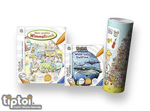 Ravensburger tiptoi ® Buch 4-7 | Mein großes Wimmelbuch + Pocket Wissen - Wale und Delfine + Kinder Wimmel Such-Poster Elektronisches Wörterbuch Für Kinder