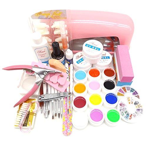 Séchoir à ongles 9 W UV pour sécher lampe 24 Couleur Poudre en acrylique ongles Gel kit d'outils complet set professionnel E