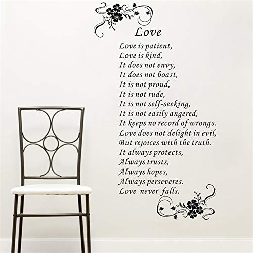 Liebe ist Art Vinyl Bibel Verse Wall Zitat Aufkleber Wohnkultur Art Decor Home Decor Zimmer Wandaufkleber 58 X 103 CM