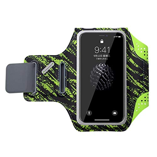 Mit Phone Armband, Herren und Fitness für Frauen Armlinge der Touch arm Tasche Touch, iPhone X/iPhone 8 Huawei universal Handtasche, mit Einem Kopfhörer Loch wasserdicht Schlüssel Tasche - Grün - M