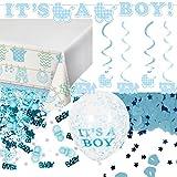 59-teiliges Dekoset * BABY BOY * für eine Baby-Party // mit Tischdecke + Deko-Hänger + Girlande + Konfetti + Luftballons + Luftschlangen // Dekoration Shower Junge Nachwuchs Kind Eltern