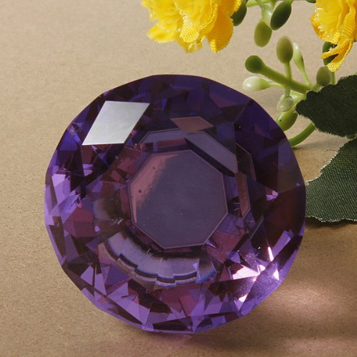 Revesun 4pcs/Lot Crystal Glass, design-pomello maniglie pomelli per cassetti armadio casa Hardware trasparente a forma di diamante, diametro 30 mm 40mm Purple
