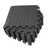 CLISPEED 12pcs Foam Floor Mats Interlocking Tiles EVA Padding Puzzle Exercise Mat Workout Flooring Home Gym Equipment (Black)