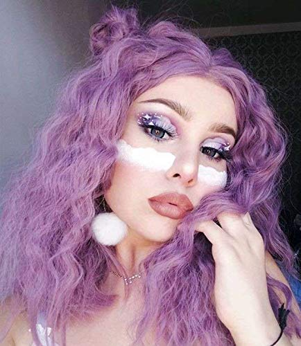 Cosswigs Purple Lace Front Perücken for Halloween Fashion Bob Synthetic Lace Wig for Women Heat Resistant Replacement Lace Wig Halloween Fashion