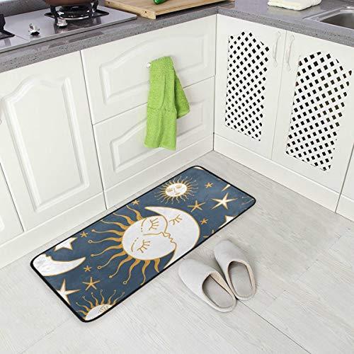 Jereee Funny Moon Sun Stars rutschfeste Küchenmatte rechteckig Polyester Fußmatte Fußmatte Fußmatte Fußmatte Fußmatte Fußmatte Home Decor 99 x 51 cm -