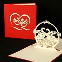 """Pop-Up Karte Hochzeit """"Schwäne"""" Hochzeitskarte, Verlobungskarte, Valentinskarte, Pop Up Karte, 3D Karte, Valentinstag, Liebe, Grußkarte, Liebesgruß, Verlobung, Hochzeit, Einladung, Einladungskarte"""