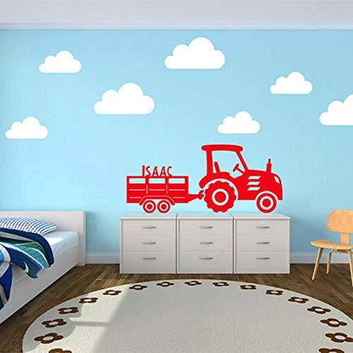 cooldeerydm Personalisierter Kindernamensticker Traktor und Anhänger mit Wolkenwandtattoo Vinyltapetensticker für Kinderzimmerwand